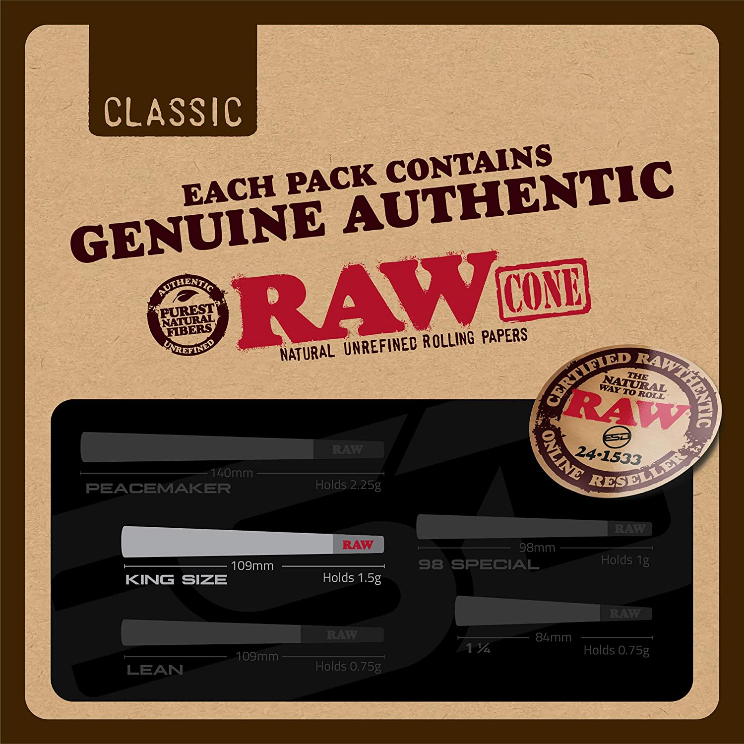 RAW Cones - Natural Pre Rolling Paper with Tips